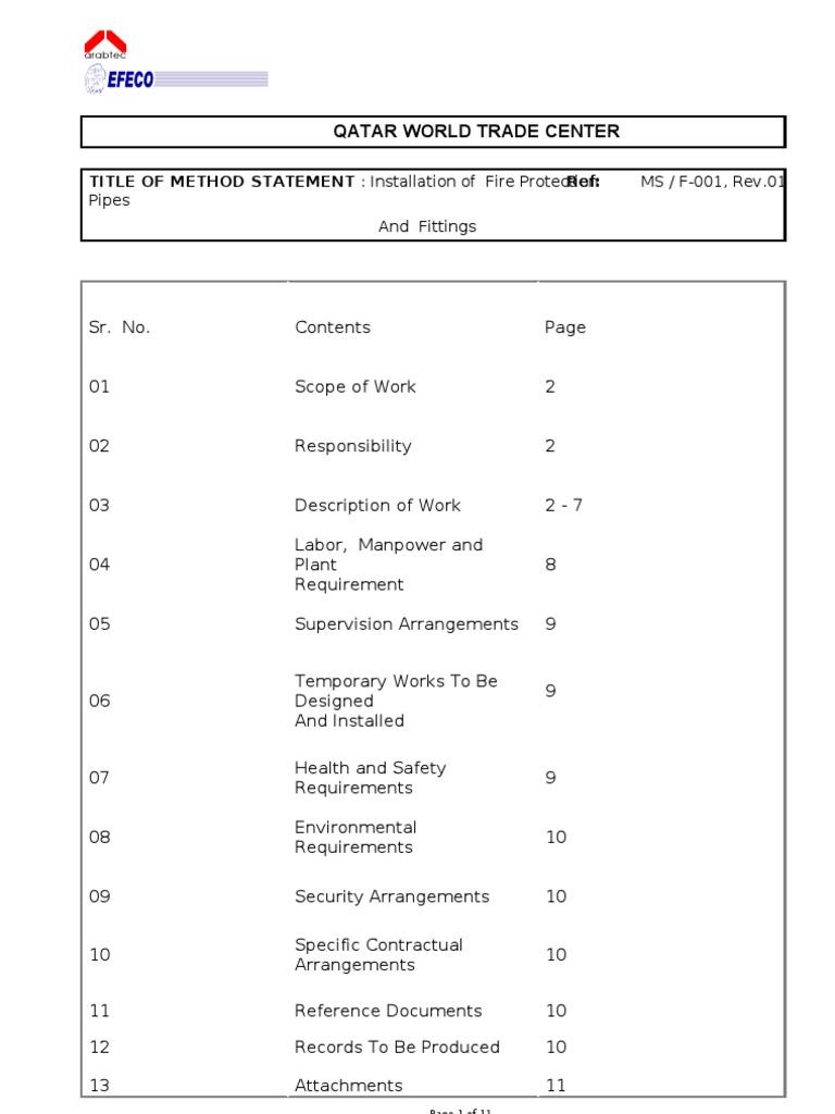MEP Method of StatementRev01 – Method Statement Template Doc