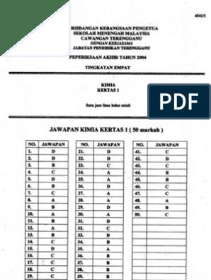 Skema Jawapan Kimia Tingkatan 4 Kertas 1