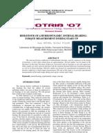 behaviour of a hydrodynamic journal bearing