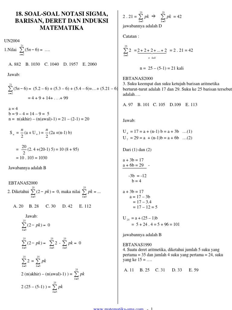 Contoh Soal Matematika Kelas 11 Beserta Jawabannya Contoh Soal Terbaru