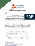 Informe 2012 de OVCS destaca aumento de las protestas sociales