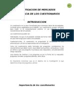 IMPORTANCIA DE LOS CUESTIONARIOS