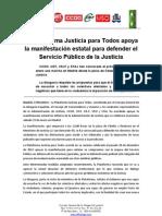 Nota prensa Plataforma Justicia para apoyo manifestacion Madrid