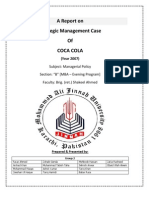 Coca Cola a Report on Strategic Management Case 2007 120420082545 Phpapp02