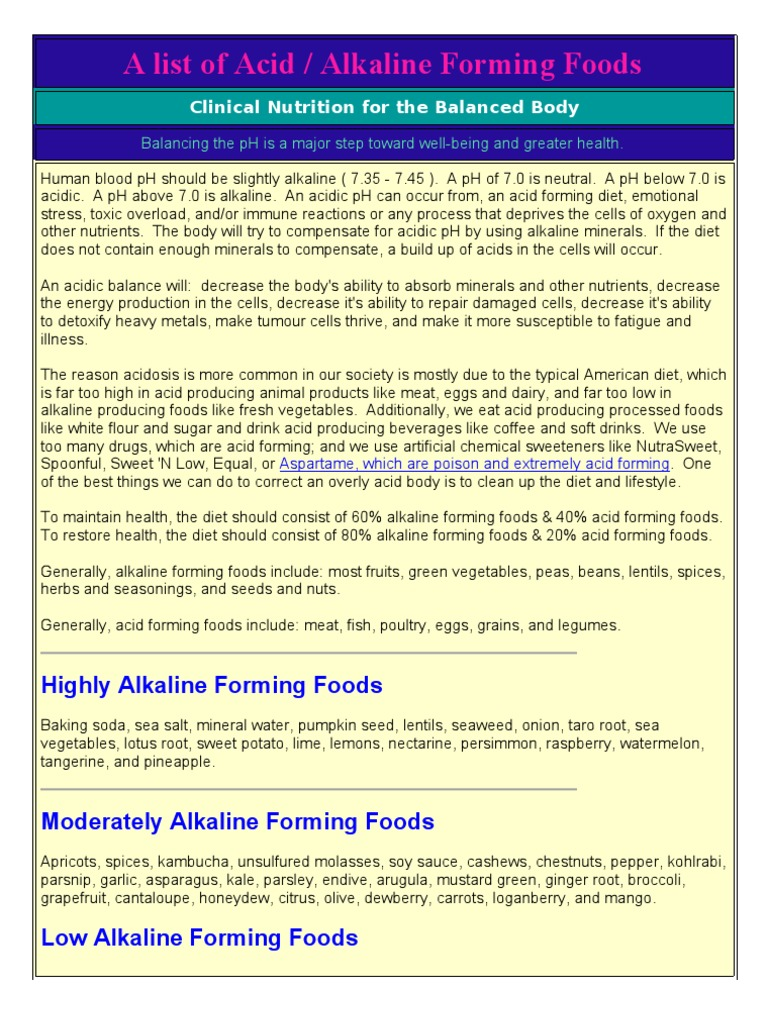 A List of Acid and Alkaline Foods