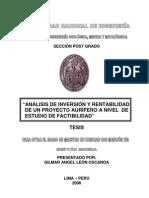 ANÁLISIS DE INVERSIÓN Y RENTABILIDAD DE UN PROYECTO AURÍFERO