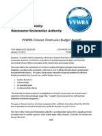 VVWRA Budget Award Press Release