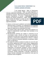 DISCURSO - UNIDAD EN LA LUCHA POR EL TERRITORIO Y LA REFORMA AGRARIA INTEGRAL