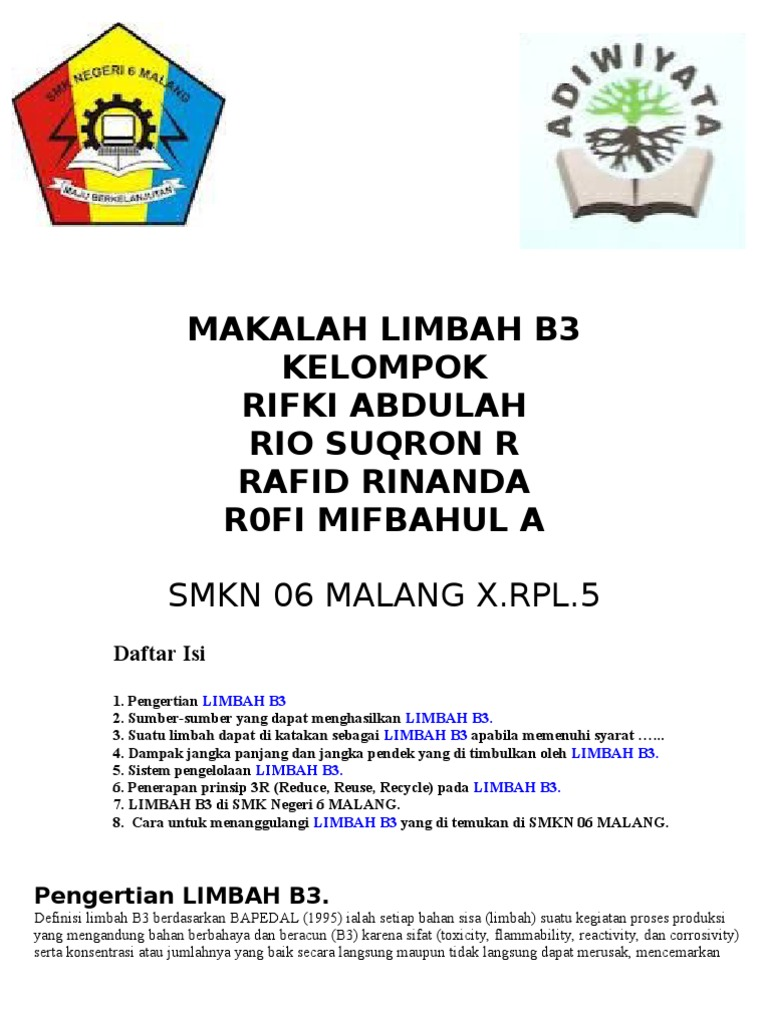 Makalah Limbah B3 Kelompok Rifki Abdulah Rio Suqron R Rafid Rinanda