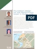 Foundation design for the Pentominium tower in Dubai, UAE