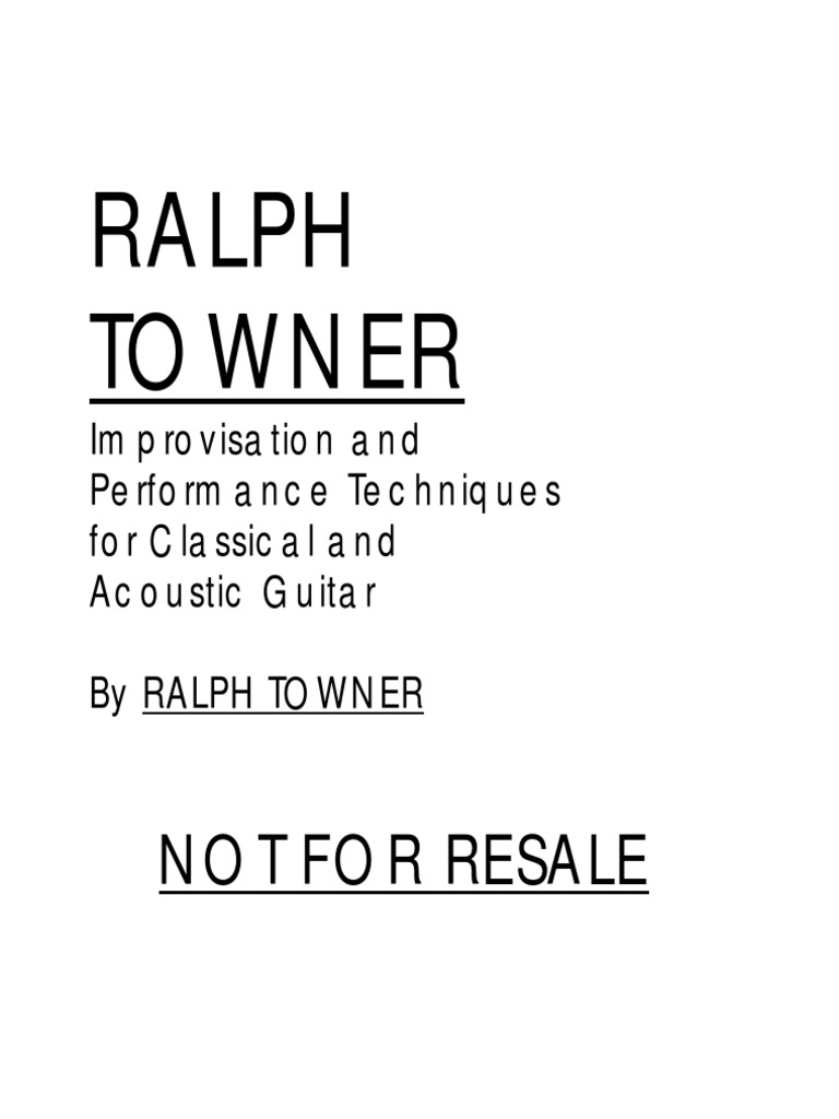 Ralph Towner Improvisation Technique For Acoustic And Classical
