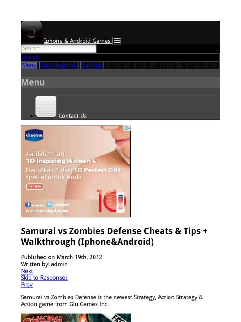 samurai vs zombies defense 2 cheats iphone