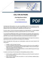 Call for authors (Open Access Publishing by Chartridge Books Oxford)