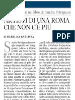 Pierluigi Battista Su Addio a Roma Di Sandra Petrignani - Corriere Della Sera 18.01.2013