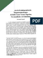 Génesis de la independencia Hispanoamericana - di Julio César Ycaza Tigerino - Un manifesto revisionista - por Giovanni Cantoni