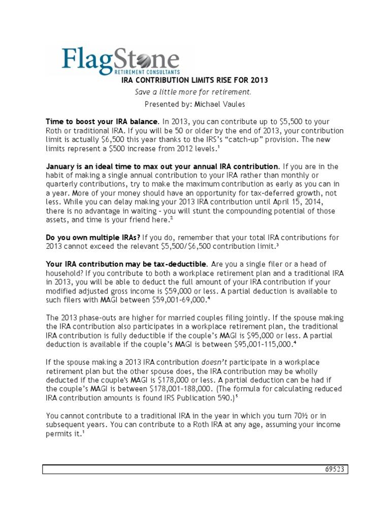 traditional ira contribution limits 2013