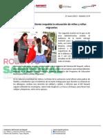 17-01-13 Boletin 1174 Gobierno de la Gente respalda la educación de niños y niñas migrantes