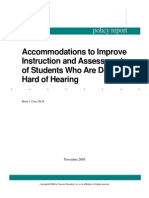 Accommodations to improve instruction and assessment of students who are deaf or hard of hearing