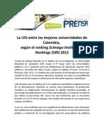 LaUniversidad Industrial de Santander #UIS entre las mejores universidades de Colombia,   según el ranking Scimago Institutions Rankings (SIR) 2012