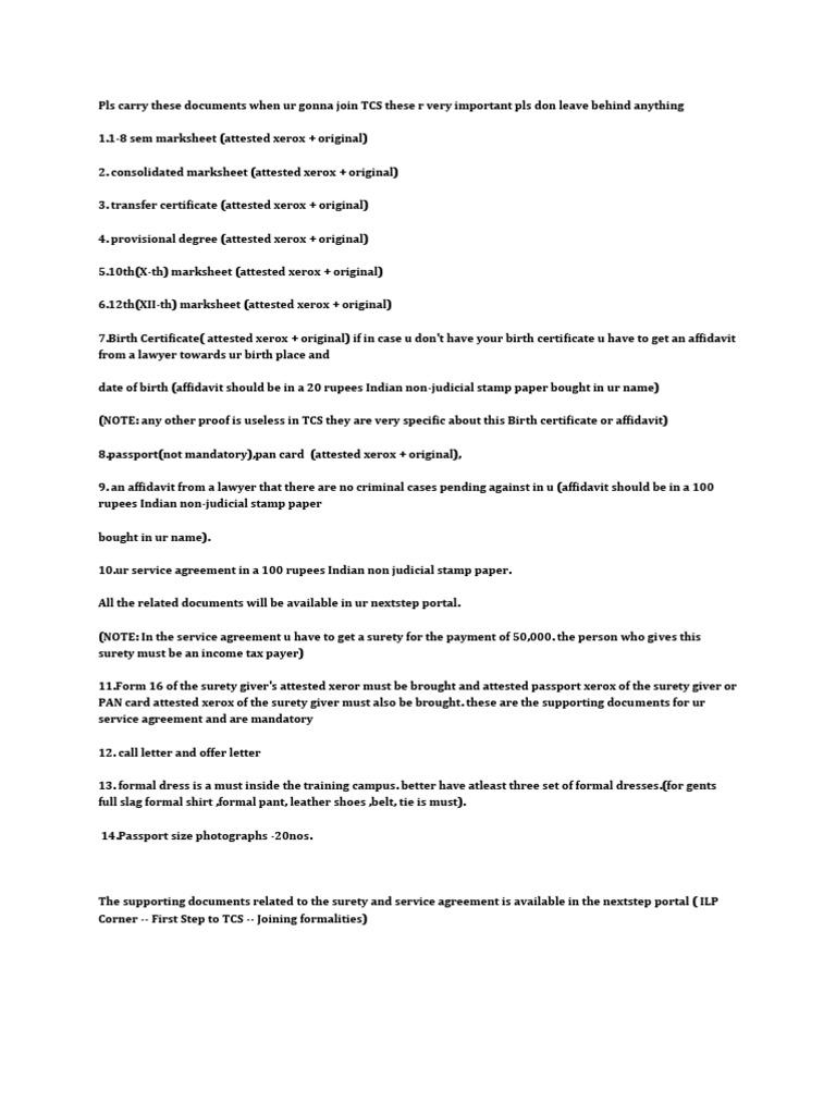 Tcs Doc Check List