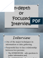 in depth or focused interview