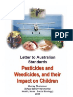 Letter to Standards Australia -- Kid's Pesticide Vulnerability