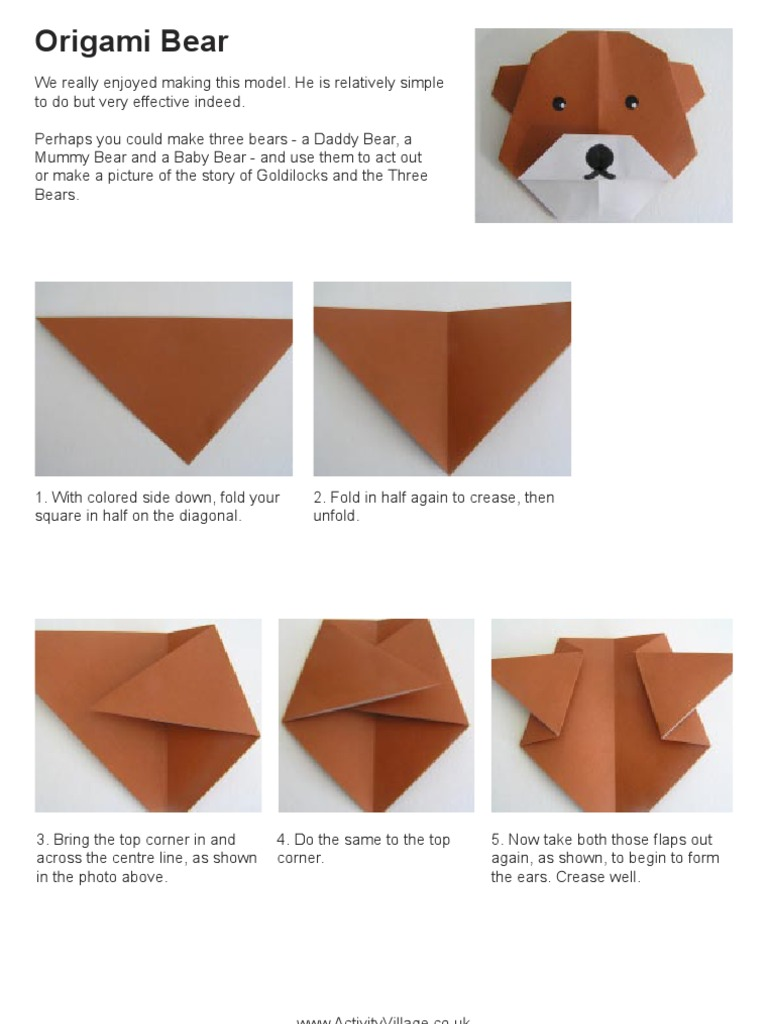 Step By Step Instructions How To Make Origami Bear. Stock Vector ... | 1024x768