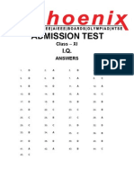 XI admission test solution