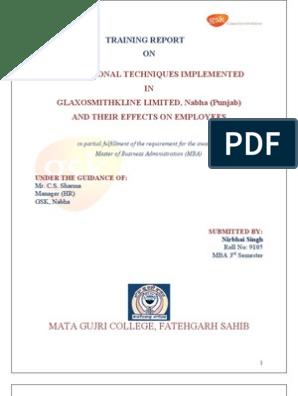 GLAXOSMITHKLINE PROJECT REPORT | Motivation | Self-Improvement