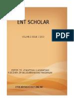 Ent scholar Volume 2 issue 1 2013