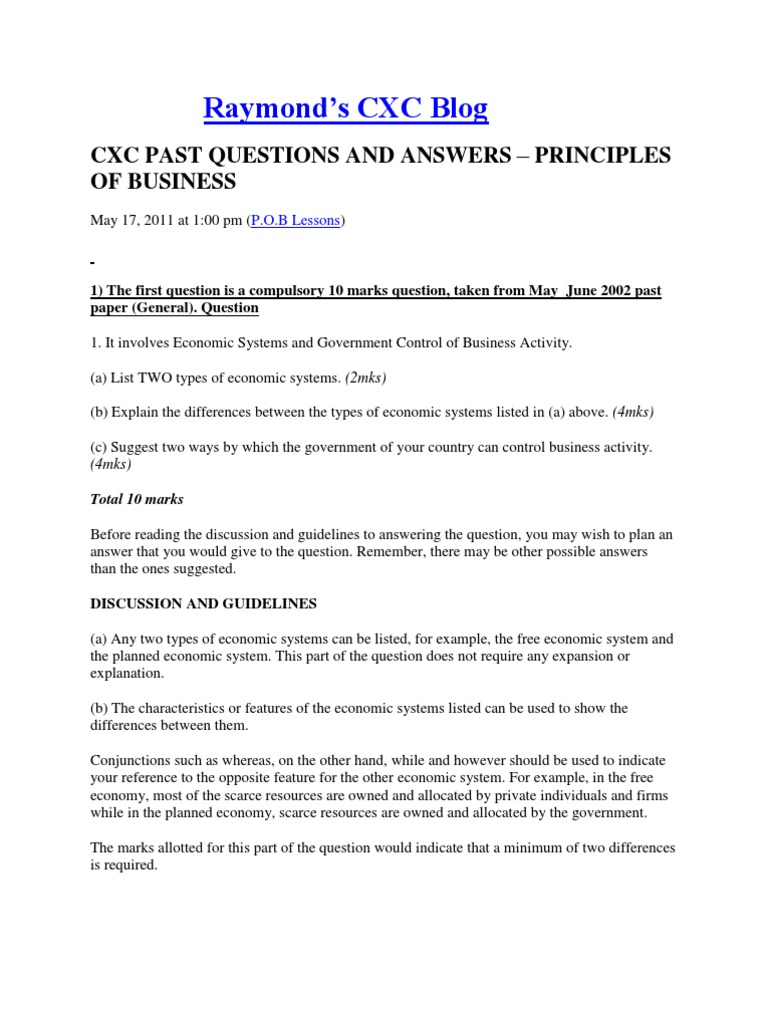 principles of business past papers docx