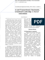 Motivation and Transactional, Charismatic, and Transformational Leadership A Test of Antecedents