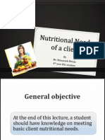 Fundamentals of Nursing-Meeting Basic client  Nutritional needs