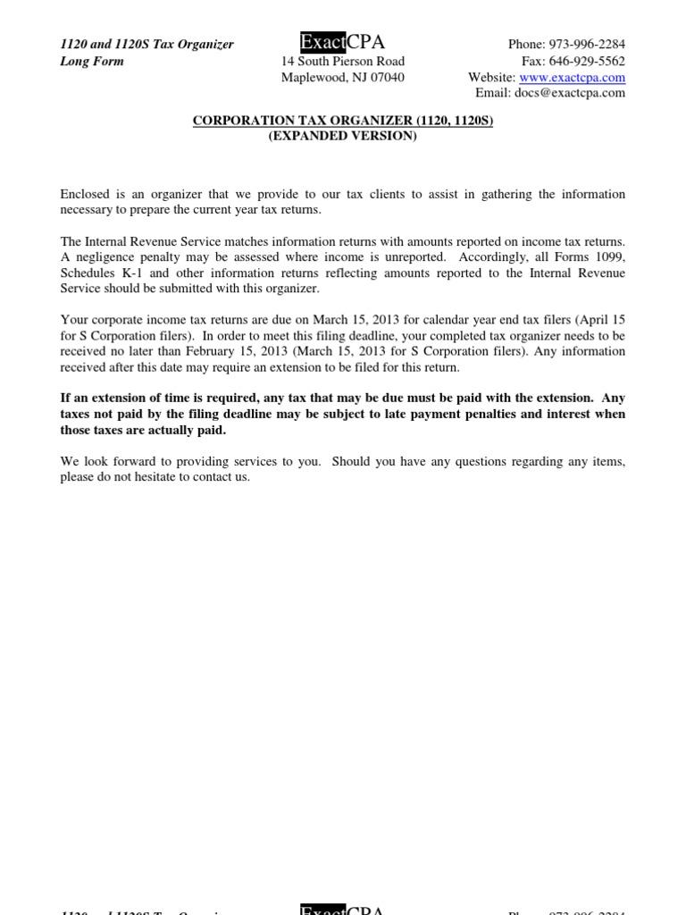 1120 & 1120s Corporation Tax Organizer - Long Version