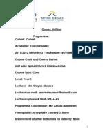 The Course Outline - Quantitative Foundations 2012to 2013