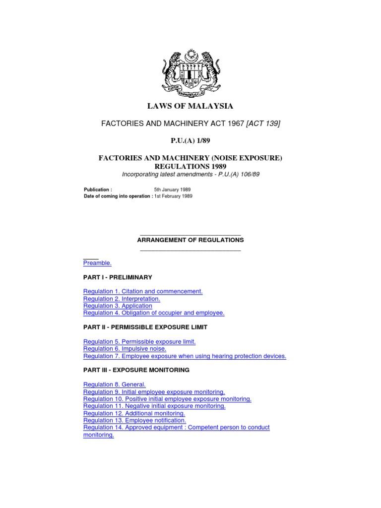 Factory and Machinery (Noise Exposure) Regulation 1989   Regulation