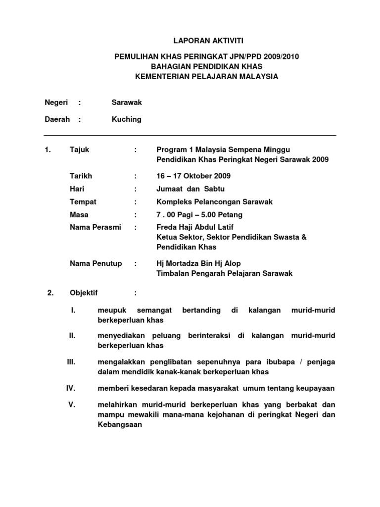 Contoh Laporan Aktiviti Pemulihan Khas Jpn Docx