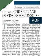 Elzeviro Di Corrado Stajano Su Vincenzo Consolo - Corriere Della Sera 21.01.2013