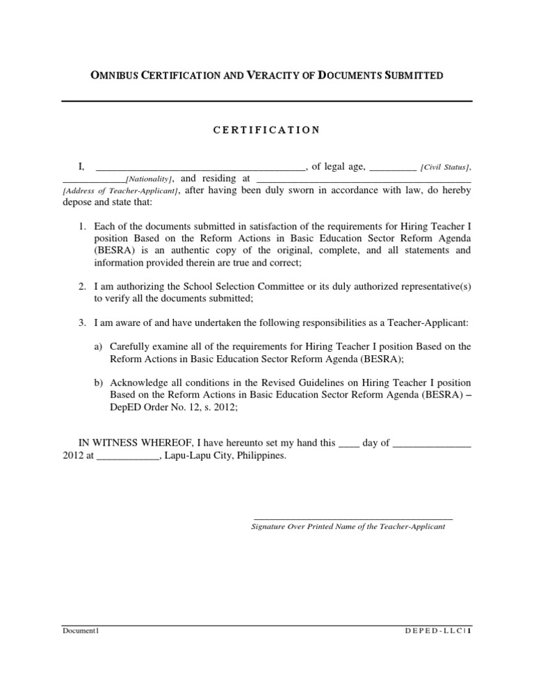 Omnibus certification of authenticity and veracity of all omnibus certification of authenticity and veracity of all documents submitted yadclub Image collections