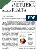 Ritorno Alla Metafisica, Un Libro Di David M. Armstrong - La Repubblica 21.01.2013