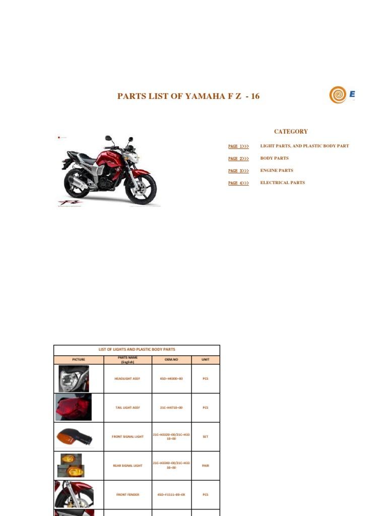 Yamaha Fz Spares List Car Engine Technology