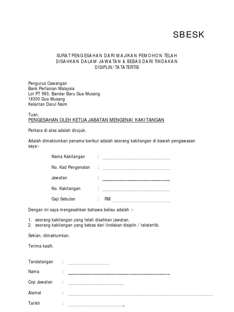 Contoh Surat Pengesahan Majikan Pdf