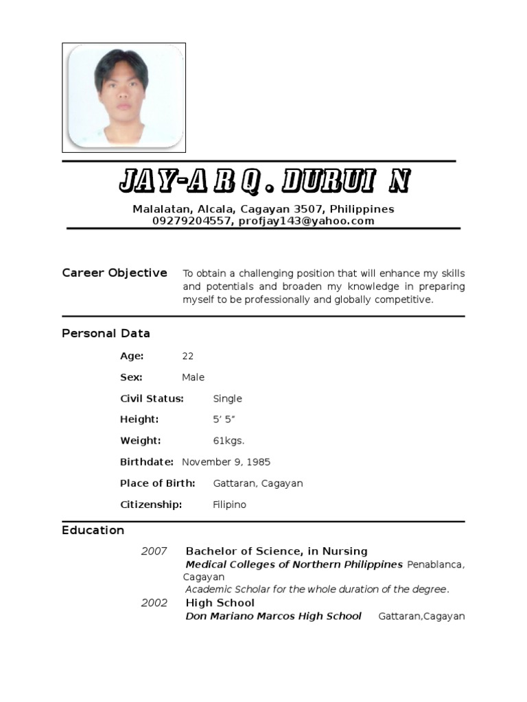 resume nurse - Resume Sample Sa Tagalog