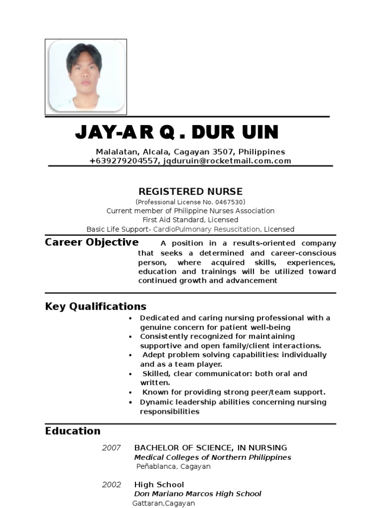 Generous Sample Resume For Filipino Nurses Applying Abroad Gallery ...