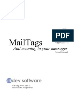 MailTags 2 2 3 Manual | Tag (Metadata) | Mail (Apple)