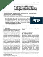 Quantitative structure–fungicidal activity relationships of N-(4-difluoromethoxybenzyl)- pyrimidin-4-amines against wheat and barley fungi