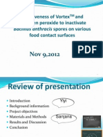 Removal of Bacillus anthracis on various food contact surfaces