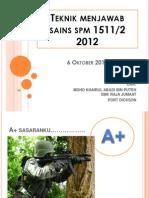 Teknik Menjawab Sains SPM 2012