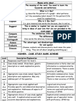 WJEC Geography GCSE Case Study Mark Scheme and Command Word List