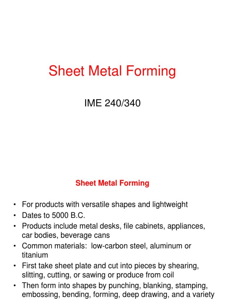 formula sheet | Sheet Metal | Deformation (Engineering)